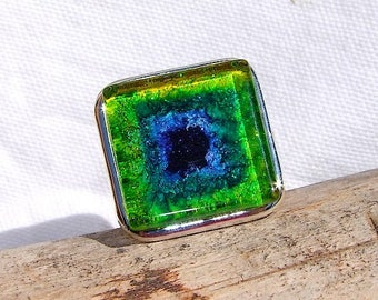 "Adjustable square ring in 4 micron silver plate named ""Gaïa"""