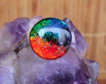 Ethnic silver adjustable ornate ring and 2 cm in diameter multicolored glass cabochon ring