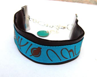 Bracelet faux turquoise and chocolate Ribbon