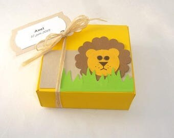 Box dragees baptism lion theme