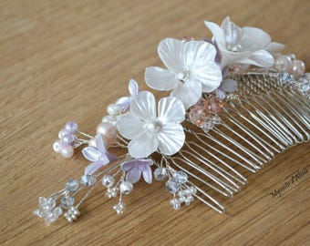 Hair comb flowers pearls and crystals