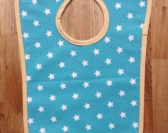 Oilcloth bib turquoise stars and gingham