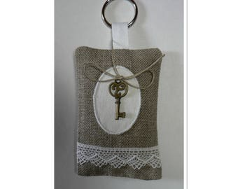 Linen Keychain filled with Lavender featuring small key