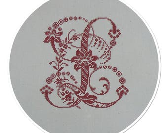 """MONOGRAM LETTER """"L"""" IN RED EMBROIDERY CROSS STITCH"""