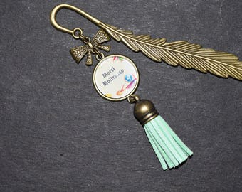 Bookmark feather, glass cabochons: thank you teacher