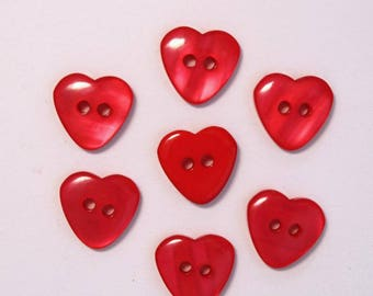 Heart 15mm set of 10 buttons: Red - 002216