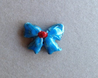 Little bow blue and Red raku pottery for Mosaic, jewelry or any other creations