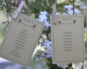 Table plan personalised wedding christening ceremonies - model Dove - set of 2/5/10 units