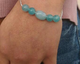 genuine aquamarine Beads Bracelet