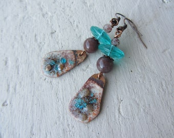 enameled copper dangle earrings, gemstone and Bohemian glass, turquoise and Brown
