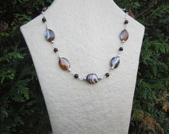 Silver plated necklace with agate and Tiger eye