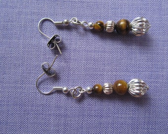 Tiger eye and silver plated earrings