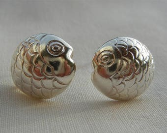 Earrings in Sterling Silver 925 fish print