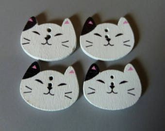 set of four wooden cat buttons