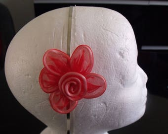 aluminum Red tulle flower headband