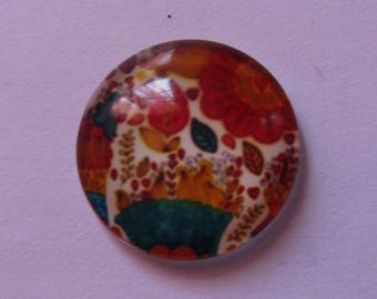 glass cabochon 20mm flower theme