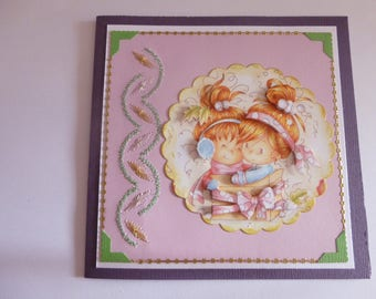 """201768 card embroidered """"little girls in gift box"""""""
