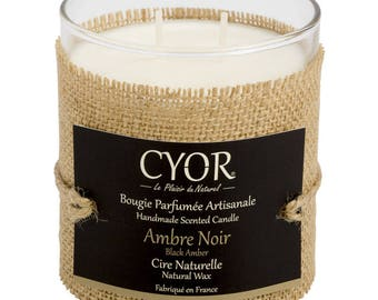 Candle SCENTED amber black 240g