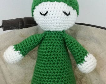 Blanket for baby and new born (the Angel of the cradle) crocheted in green cotton