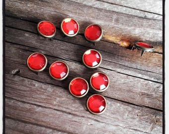 LOT 10 nails red rhinestone 10 MM round setting in metal bronze to customize textiles