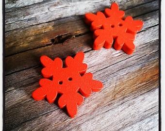 Buttons sewing scrapbooking ORANGE wooden snowflake