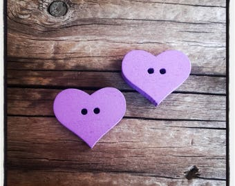 set of 2 heart sewing purple color wooden buttons