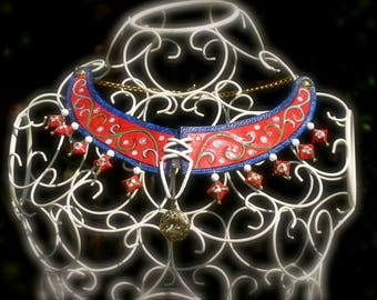 """Gothic medieval necklace """"Lady Garden Unicorn"""" tooled leather creative challenge April 2014"""