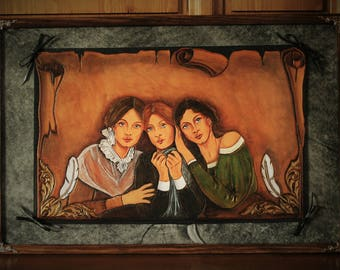 "Carved leather Artwork  ""Brontë Sisters"" portraits in georgian XIXth century style UNIQUE"