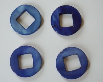 Royal Blue Pearl 25mm hollow round bead