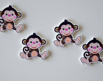 """4 """"Monkey"""" painted wooden buttons"""