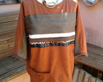 Imitation suede tunic, peach color, custom 3/4 sleeves. By Mary j designs