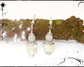 White Moonstone dangle earrings