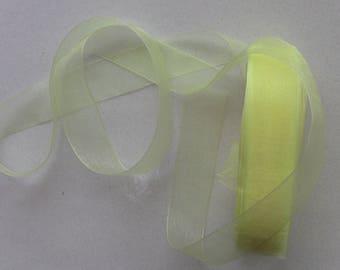 10 meters of 25mm yellow organza Ribbon