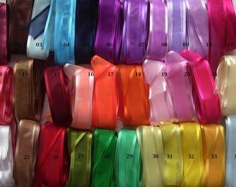 Organza edged Scintillant 25mm satin ribbon