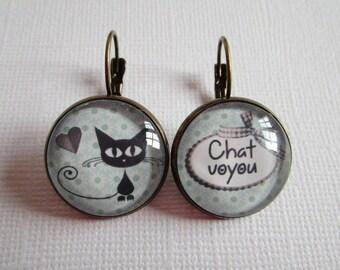 """Kitty Kitty"", bronze cabochon, costume jewelry Stud Earrings"