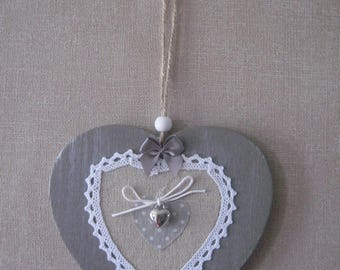 Free shipping! heart hanging in wood and lace