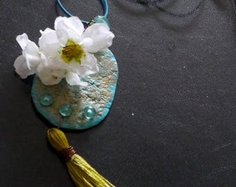 "Pendant necklace, boho Chic, Turquoise necklace, tassel ""cherry blossom"", gift idea"