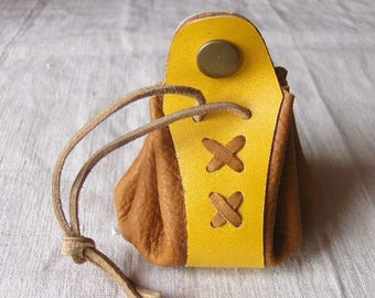 Coin purse is leather beige-yellow handmade