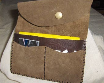 Taupe - brown suede leather tobacco pouch