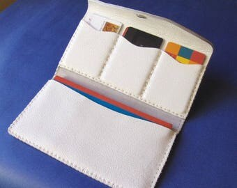 Checkbook and grained White hand-stitched leather card holder