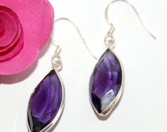 Navette Amethyst faceted and Silver 925 earrings