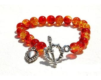Bracelet jewelry glass and sterling silver charm, red, Orange, tangerine
