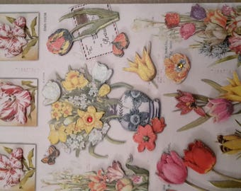 Spring flowers themed 3D stickers stickers