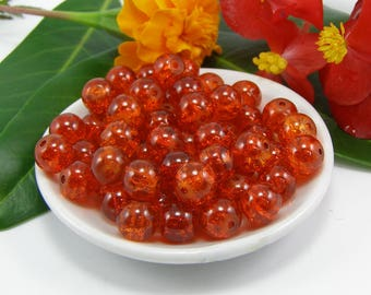 Set of 10 beads 8 mm cracked orange