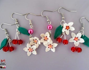 Cherry earrings and flower