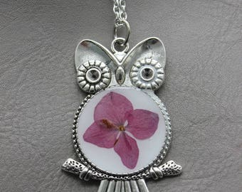Necklace + pendant OWL resin and dried hydrangea flower