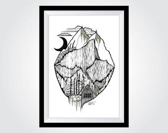 "A3 Mountain Landscape Fine Art Print - Chamonix French Alps - (approx. 12"" x 16.5"")"