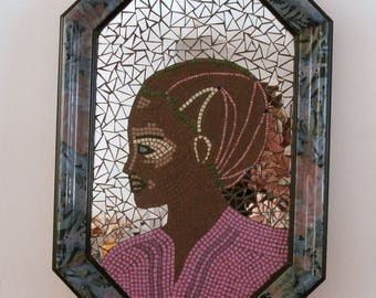 """""""Pretty African face"""" mosaic table and mirror"""