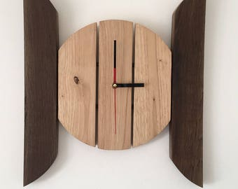 wood clock with was oak and oak