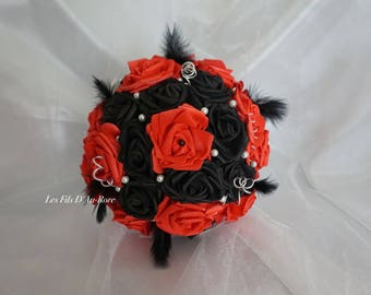Bouquet bridal POPROCK red & Black with feathers & beads